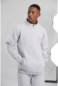 White Man Active Raw 1/4 Zip Funnel Neck Top