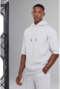 White Man Active Oversized Short Sleeve Hoodie