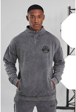 Charcoal Man Active Acid Wash Raw 1/4 Zip Top