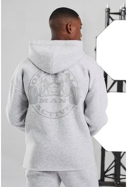White Man Active Oversized Zip Through Hoodie