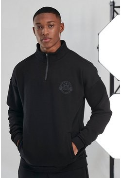 Black Man Active Raw 1/4 Zip Funnel Neck Top