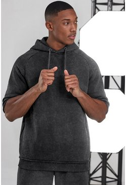 Charcoal Man Active Oversized Short Sleeve Hoodie