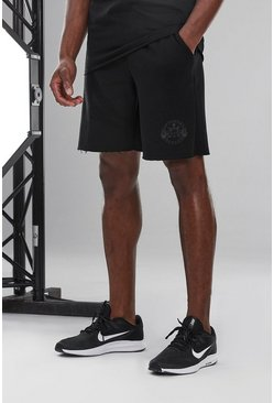 Black Man Active Loose Fit Short With Raw Edge