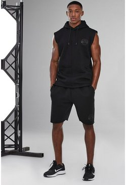 Man Active Raw Edge Short Tracksuit, Black