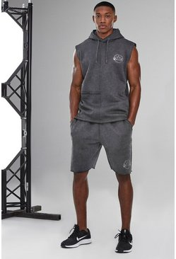 Charcoal Man Active Acid Wash Raw Edge Short Tracksuit