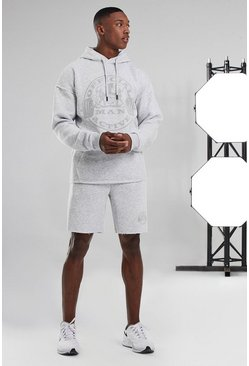 Man Active Hooded Raw Edge Short Tracksuit, White
