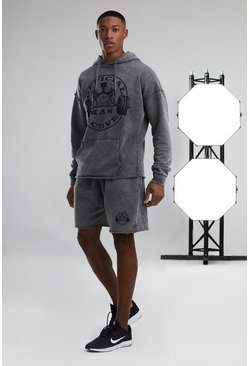 Charcoal Man Active Acid Wash Hooded Short Tracksuit