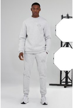 Man Active Sweater Raw Edge Tracksuit, White