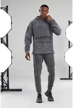 Man Active Acid Wash Hoodie Tracksuit, Charcoal