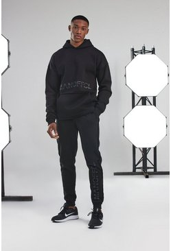 Black Man Active Hoodie Raw Edge Tracksuit