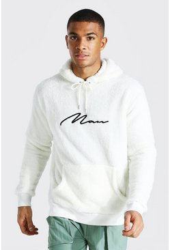 Ecru Borg Man Signature Over The Head Hoodie
