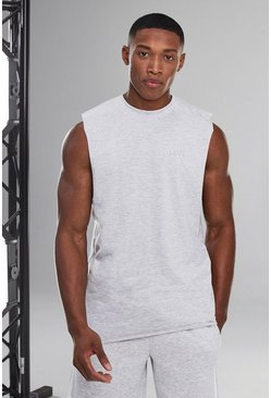 White Man Active Sleeveless T-shirt With Raw Edge