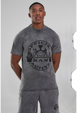 Charcoal Man Active Acid Wash  Raw Edge Tee