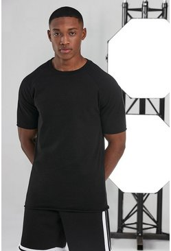 Black Man Active Gym T-shirt With Raw Edge