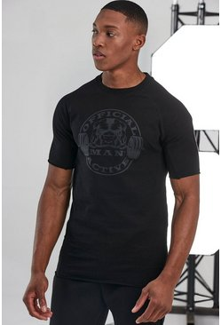 Black Man Active Muscle Fit Raglan Logo T-shirt