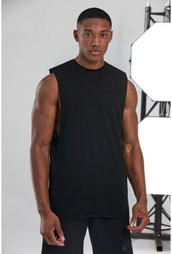 Black Man Active Sleeveless T-shirt With Raw Edge