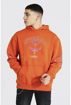 Orange Oversized Dragonfly Sleeve Print Hoodie