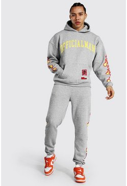 Grey marl Tall Man Hooded Tracksuit With Fire Print