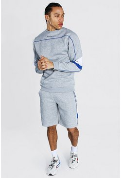 Grey marl Tall Man Short Sweater Tracksuit With Piping