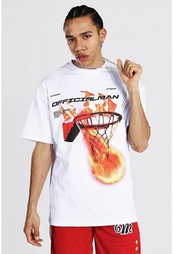 White Tall Oversized Flame Basketball Print T-shirt