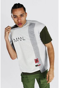 Grey Tall Man Colourblock Oversized T-shirt