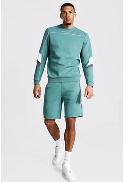 Green Tall Man Short Sweater Tracksuit With Piping