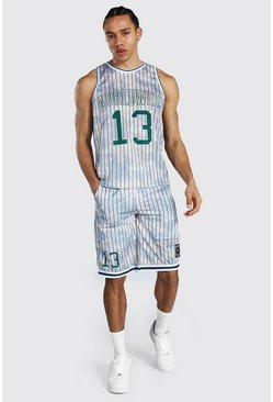 Ecru Tall Worldwide Mesh Basketball Short Set