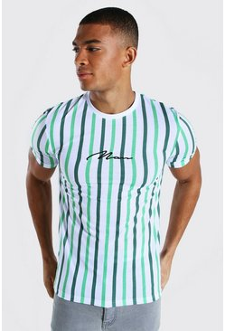 Green Muscle Fit Man Signature Stripe T-shirt