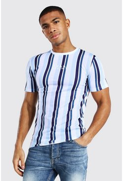 White Muscle Fit Original Man Stripe T-shirt