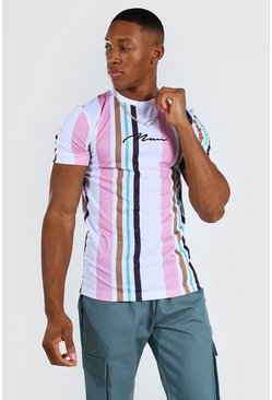 Pink Muscle Fit Man Signature Stripe T-shirt