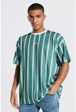 Oversized Man Signature Stripe T-shirt, Forest