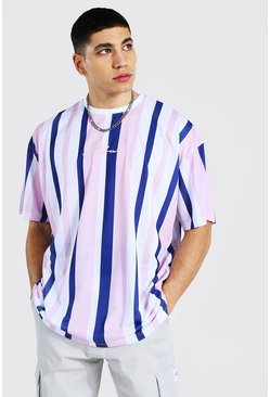 Blue Oversized Man Signature Stripe T-shirt