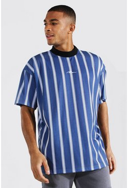Blue Oversized Man Extended Neck Stripe T-shirt