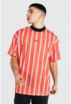 Orange Oversized Man Extended Neck Stripe T-shirt