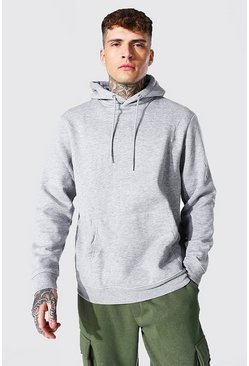 Recycled Regular Fit Hoodie, Grey marl