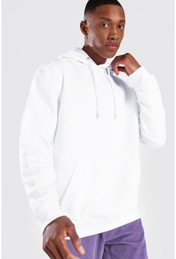 White Regular Fit Recycled Hoodie