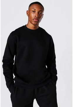 Recycled Regular Fit Sweatshirt, Black