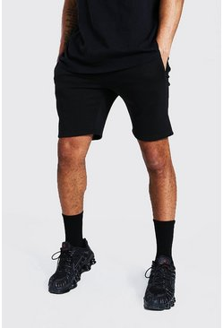 Recycled Slim Fit Jersey Shorts, Black