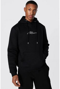 Recycled Man Signature Regular Hoodie, Black
