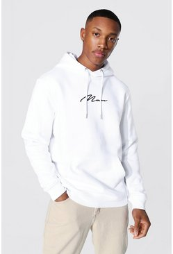 White Recycled Man Signature Regular Hoodie