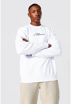 Recycled Man Signature Regular Sweatshirt, White