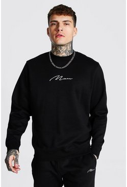 Black Recycled Man Signature Regular Sweatshirt