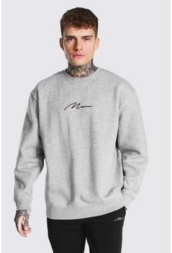 Grey marl Recycled Man Signature Oversized Sweatshirt
