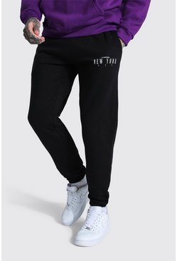 Black Regular New York City Print Joggers