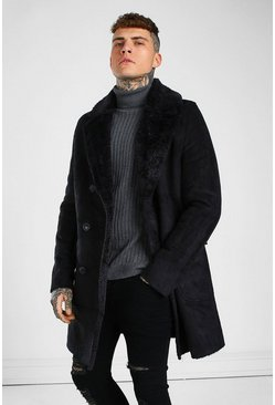 Black Longline Faux Fur Double Breasted Overcoat