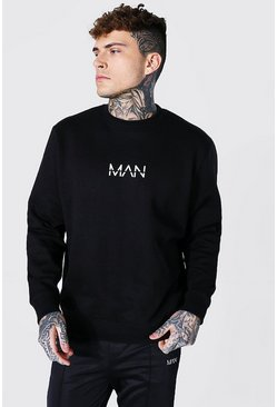 Recycled Original Man Oversized Sweatshirt, Black