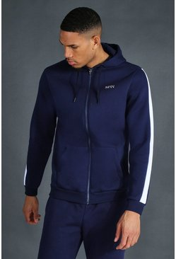 Navy Tall MAN Active Zip Through Side Stripe Hoodie