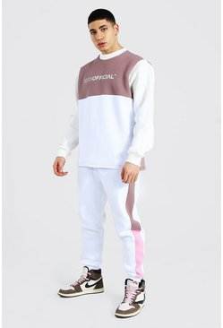 Man Official Colour Block Sweater Tracksuit, Brown