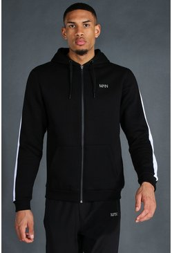 Black Tall Man Active Zip Through Side Stripe Hoodie