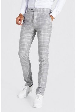 Grey Tall Straight Leg Check Chain Smart Trouser